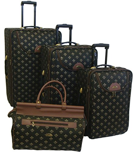 Fleur De Lis Luggage (American Flyer Luggage Lyon 4 Piece Set, Metalic Black, One)