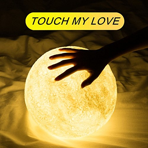 15cm LED Moon Light with Remote Control,3D Print Moon Lamp LED 16 Colors Portable Night with Touch Control,USB Rechargeable + Built-in battery dimmable