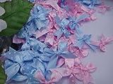 Polka Dot Satin Ribbon Blue and Light Pink Bows for Perfect Diy- Applique, Scrapbook, Card Trims Craft- 7 Mm. 40 Pcs.
