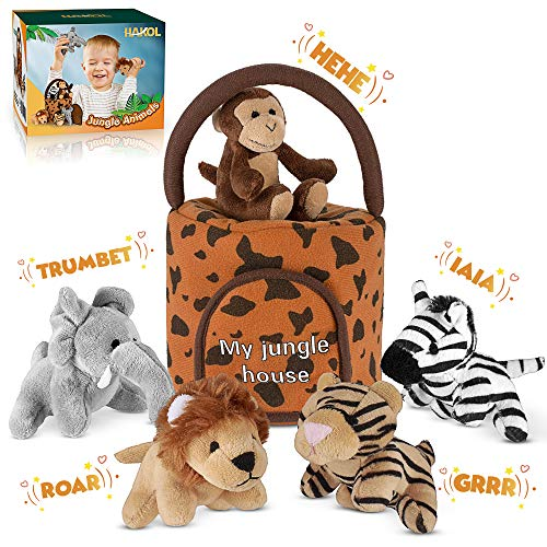 HAKOL Jungle Friends Talking Plushie Set - for 1 Year Old & up Boy & Girl Baby, Realistic Sounding Stuffed Animal Toys Babies, Toddlers & Children - Lion, Elephant, Tiger, Zebra & Monkey - Carrier -