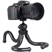 Adofys Flexible Gorillapod Tripod with 360° Rotating Ball Head Tripod for All DSLR Cameras(Max Load 1.5 kgs) & Mobile Phones + Free Heavy Duty Mobile Holder(Black)