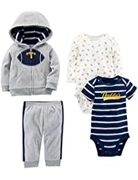 Baby Boys' 4-Piece Fleece Jacket, Pant, and Bodysuit Set