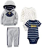 Simple Joys by Carter's Baby Boys' 4-Piece Fleece Jacket Set, Gray Football, 6-9 Months