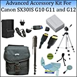 Advanced Accessory Kit For The Canon SX30IS, G10 G11 and G12 Digital Cameras With Professional Tripod, Carrying Case, Monopod, Replacement NB-7L Battery And More