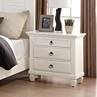 Roundhill Furniture Regitina 016 Bedroom Nightstand, Queen/King, White