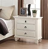 Roundhill Furniture Regitina 016 Bedroom Nightstand, Queen/King, White