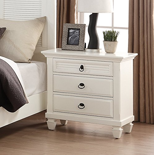Roundhill Furniture Regitina 016 Bedroom Nightstand, Queen/King, White by Roundhill Furniture