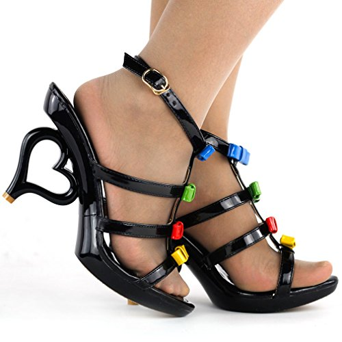 Show Story Strappy Ankle Strap Bride Wedding Dancing Heart Heels Sandals,SM33101 Black With Bows