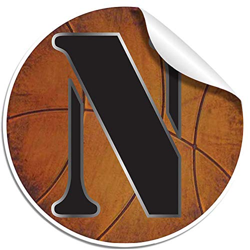 Wall Sticker Basketball Letter Decals Vinyl Stickers Nursery Decorations Alphabet Initial Name Letters Decal Childrens Room Decor Baby Boys Girls Bedroom Child Personalized Sports (Medium, Letter N) -