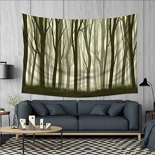 Forest Customed Widened Tapestry Mother Nature Theme Illustration of Mystical Forest with Trees Print Wall Hanging Tapestry 90''x60'' Army Green and Sage Green by Anhuthree