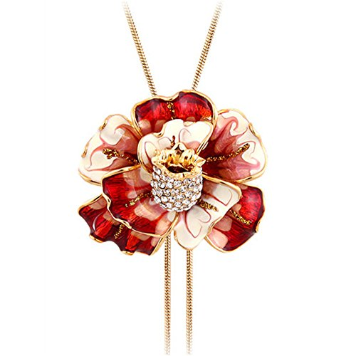 Black Angel Wings Costume Australia (Enamel Flower Long Chain Pendant Necklace for Women Adjustable Length