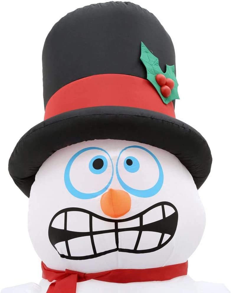 Home Accents Holiday 6 ft Pre-lit Inflatable Shivering Snowman Airblown