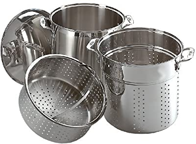 All-Clad E796S364 Specialty Stainless Steel Dishwasher Safe 12-Quart Multi Cooker Cookware Set, 3-Piece, Silver by All-Clad