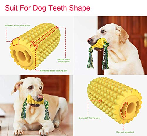 Jokohub Dog Chew Toys, Corn Shape Indestructible Tough Durable Dog Toothbrush Toys Interactive Dog Toy for Aggresive Chewers Dog Dental Teeth Cleaning