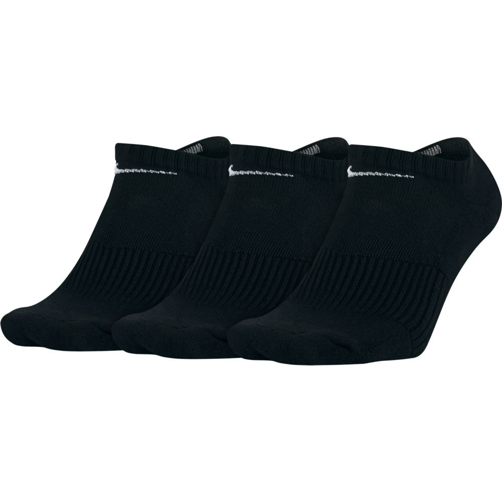 NIKE Unisex Performance Cushion No-Show Training Socks (3 Pairs), Black/White, Large