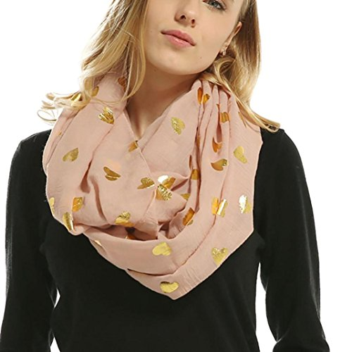 Auwer Wrap Scarves, Lady Women Soft Bronzing Heart-Shaped Print Muffler Winter Scarf (Pink) ()