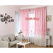 WPKIRA Window Treatments Kids Angels City White Clouds Castle Printed Thermal Insulated Curtains Cloth Panels Window Drapes Screens Grommet Top For Girls Bedroom , 1 Panel Pink W40 by L63 inch