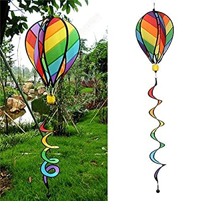 Aoleytech 55 '' Hot Air Balloons Wind Spinner, Striped Rainbow Windsock Includes Curlie Tail & Colorful Kinetic Hanging Decoration Garden Yard Outdoor Decor Toy : Garden & Outdoor