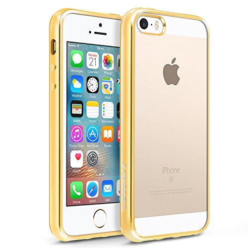 (BasAcc [Crystal Clear] [Ultra Slim] Non Slip TPU Rubber Candy Skin Case Cover with Chrome Edge Compatible with Apple iPhone SE / 5S / 5, Clear/Gold)