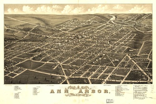 Map Poster - Panoramic view of the city of Ann Arbor Washtenaw Co. Michigan 1... (City Ann Arbor)