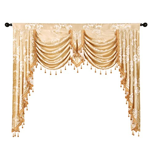 elkca Golden Jacquard Swag Waterfall Valance Luxury Curtain Valance Living Room (Floral-Golden, W59 inch, 1 ()