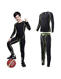 TERODACO Girls Boys Long Sleeve Compression Shirts Pants 2 Pcs Set Base Layer Suits