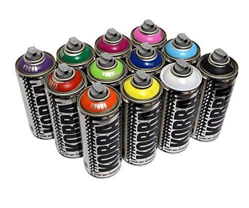 Kobra Spray Paint - 12 x 400ml Aerosol Spray Paint Cans - Matt Finish,...