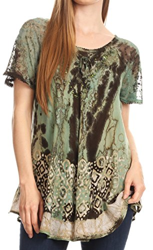 Sakkas 18706 - Sara Womens Flowy Peasant Short Sleeve Top Blouse Tie-dye Batik Embroidery - Olive - OSP