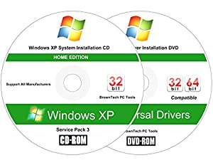 Windows XP Home Edition (SP3) Reinstall Install Disc - 2018 Universal Driver Install Disc - No Internet Needed - 2 Disc Installation Kit