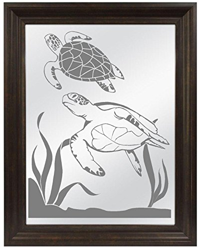 Sea Turtles Ocean Sandblasted Mirror, Personalized Bar Mirror, Custom Personalized Mirror, Etched Bar Mirror, Custom Bar Mirror, Large Mirror