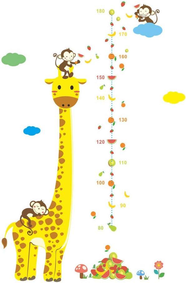 Toise Sticker Mural/ /Dessin anim/é Girafe Singe d/écoration de la Maison la Croissance de Mesure R/ègle pour b/éb/é//Enfant//Fille//gar/çon Salle