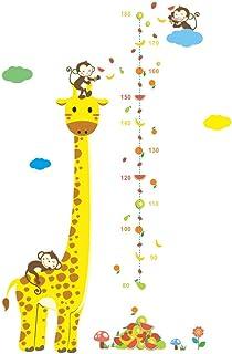 Toise Sticker Mural–Dessin animé Girafe Singe, décoration de la Maison, la Croissance de Mesure Règle pour bébé/Enfant/Fille/garçon Salle