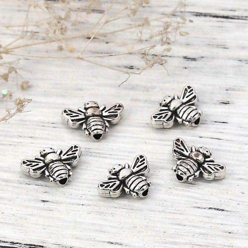 Silver 13x9mm 3D Detailed Bumble Bee Honey Spacer Beads ()
