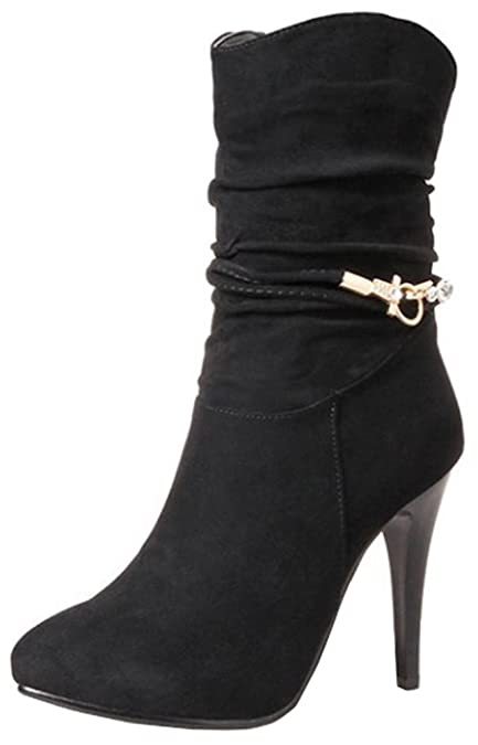 06dbcfe00b2 Easemax Women s Sexy Faux Suede Pointed Toe High Stiletto Heel Zip Up Ankle  High Boots  Amazon.co.uk  Shoes   Bags