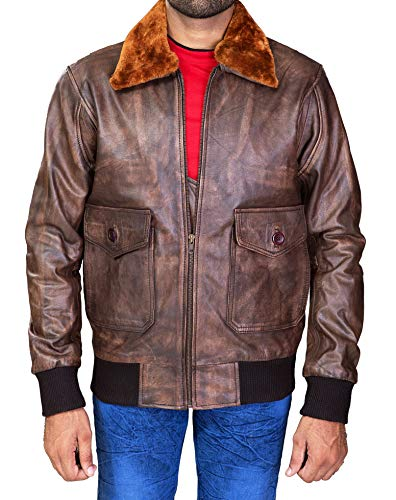 Fur Collar Bomber - Aviator G-1 Distressed Brown Real Leather Bomber Flight Jacket Removable Collar (L- fit for 43-44 inches Actual Chest)