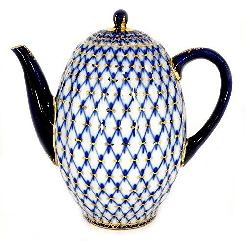 Lomonosov Porcelain 22 Karat Gold Cobalt Net Coffee Pot 8 Cups 40 oz/1200 ml