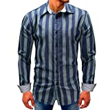 Men Striped Shirt Fasion Long-Sleeve Beefy Button Down Blouse Shirt Top Zulmaliu(M-3XL) (2XL, Blue)