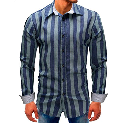 Men Striped Shirt Fasion Long-Sleeve Beefy Button Down Blouse Shirt Top Zulmaliu(M-3XL) (2XL, Blue) by Zulmaliu-Shirts 2018