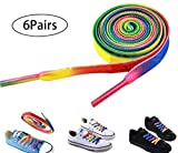 Amamcy 6 Pairs Rainbow Flat Shoelaces Shoe Laces Strings for Sports Skates (with 2 pairs of Light Up Shoe Laces) for Athletic Running Sneakers Boots Board and Casual Shoes