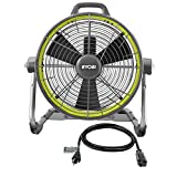 """RYOBI 18-Volt ONE+ Portable Hybrid 18"""" 3-Speed Air Cannon Drum Fan, Runs on Battery (NOT Included) or Electric Power (AC Cord Included)"""