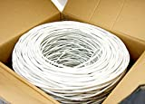 Five Star Cable Cat5e 1000 Ft CMR Rated 24AWG Solid Bare Copper Conductor UTP ETL Listed PVC Network Ethernet Cable - White color