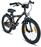 "PROMETHEUS Kids bike 18 inch Boys and Girls in black Matt & orange with alloy kickstand | Aluminum V-brake and backpedal brake | including security package | as from 6 years | 18"" BMX Edition 2018"