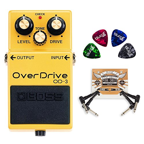 (BOSS OD-3 Bass Overdrive Pedal with 2-Band Equalizer Bundle with 2-Pack of Blucoil Pedal Patch Cables and 4 Guitar Picks)