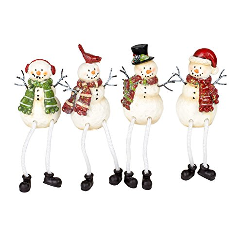 (Glitter Striped Snowman 4 x 3 Resin Stone Christmas Shelf Sitter Figurines Set of 4 )