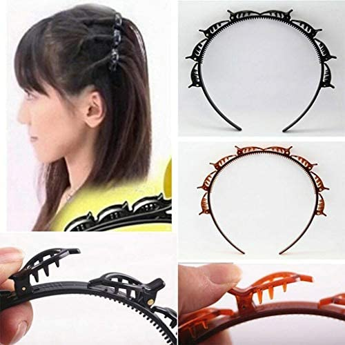Double Bangs Hairstyle Hairpin, Twist Clip Headband with Toothed Headband Braid Tool, Women Fashion Hair Accessories, DIY Hair Bands Headbands for Women Girls (Black)