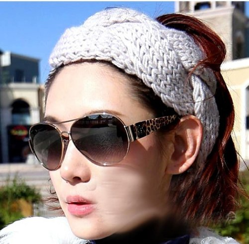 WIIPU Knitted Bow Headband Ear Warmer with Cinched Center and Loose Bow Ears hat knitted headband (N66)black