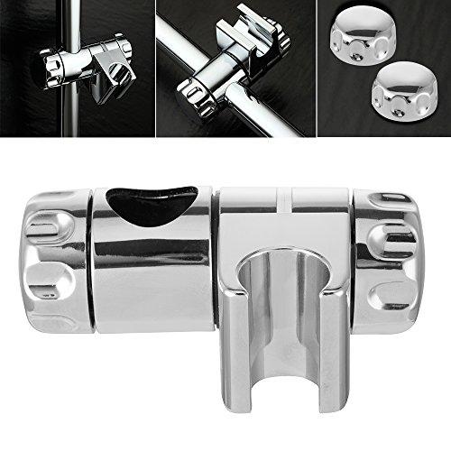 Shower Rail Head Holder Bracket Adjustable for Slide Bar ABS Chrome Fits 25mm Riser Rails
