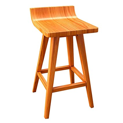 Wooden Bar Counter Stool Retro Dining Chair Barstools Ergonomic Curved Seat for Kitchen | Pub |