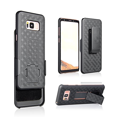 Galaxy S8, Ultra Slim Protective Shell Grip Case & Swivel Belt Clip Holster Combo w/Built-in Kickstand