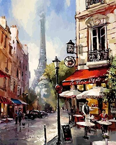 Diy油絵、数字でペイントキット-1620インチ(フレームレス)-朝の塔